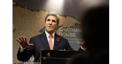 U.S. Secretary of State John Kerry speaks at The Royal Institute of International Affairs, at Chatham House, in London, Monday, Oct. 31, 2016. Kerry and Iranian Minister of Foreign Affairs Dr Mohammad Javad Zarif have been voted as the winners of this year's Chatham House Prize. (AP Photo/Kirsty Wigglesworth)